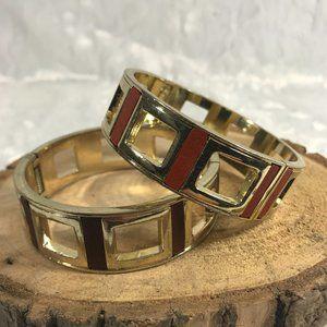 Vintage pair Faux leather clamper bracelets geo